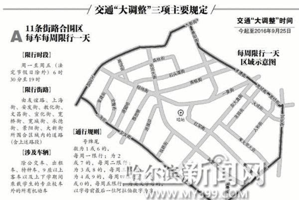 """哈尔滨市单双号限行""""大调整"""" 今起试行"""""""