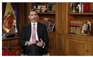 """西班牙国王在平安夜发表新年电视演讲"""""""