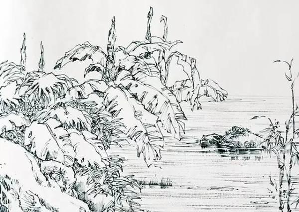 山水黑白手绘元素