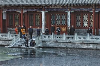 王嘉宁/昨日,清华大学事发地点附近,有人在围观。新京报记者王嘉宁摄