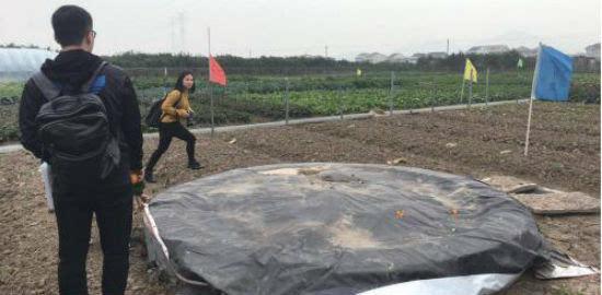 """七都街道岛中岛生态园有个""""环保池""""——游客野炊留下的餐厨垃圾被"""