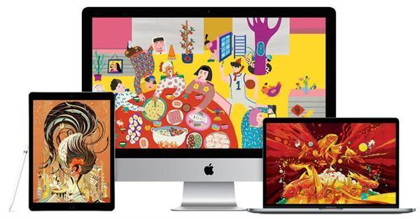 苹果官网公布鸡年春节年画壁纸春节风与欢庆感齐飞!
