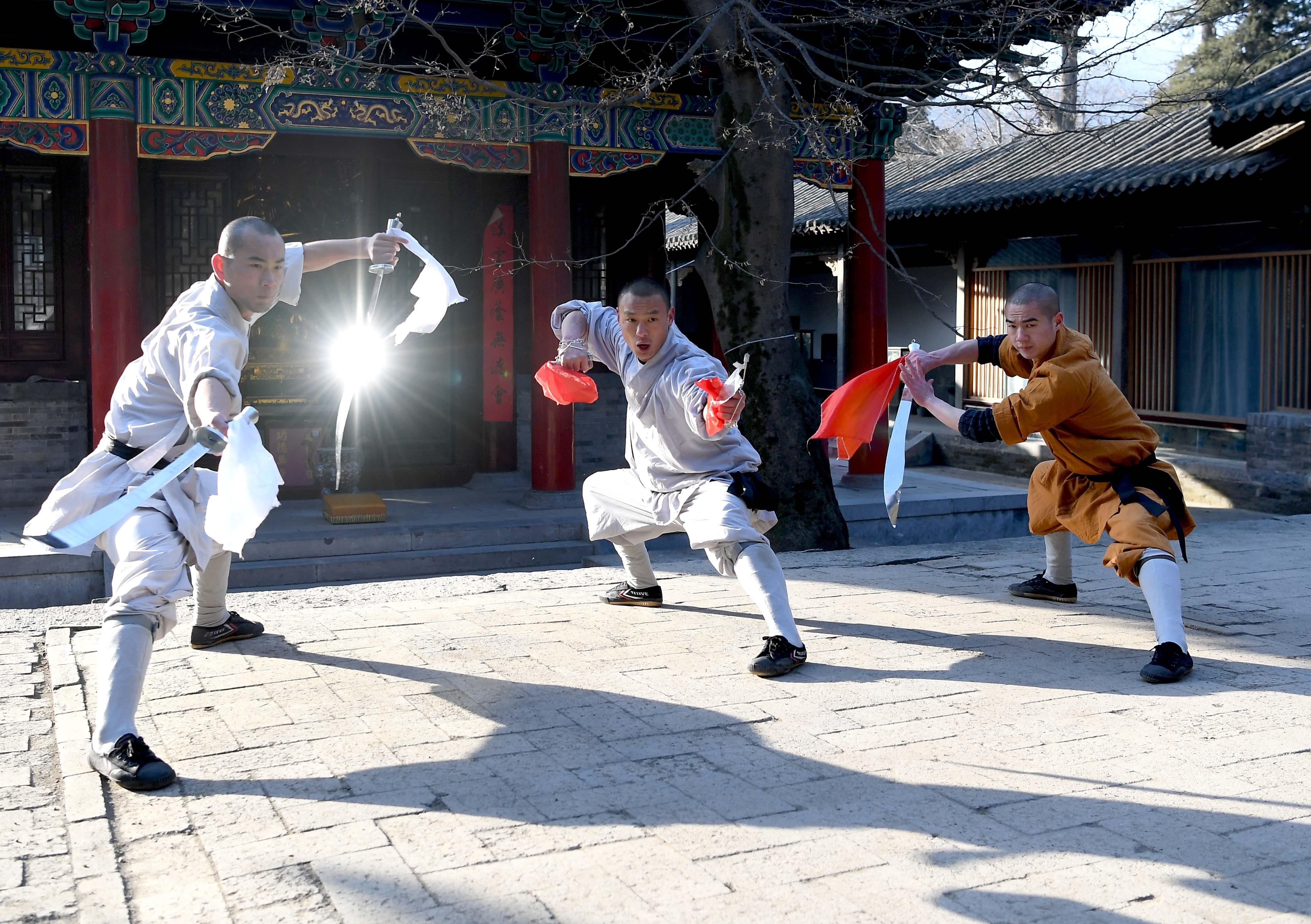 1月21日,少林武僧在少林寺碑廊习练兵器.图片