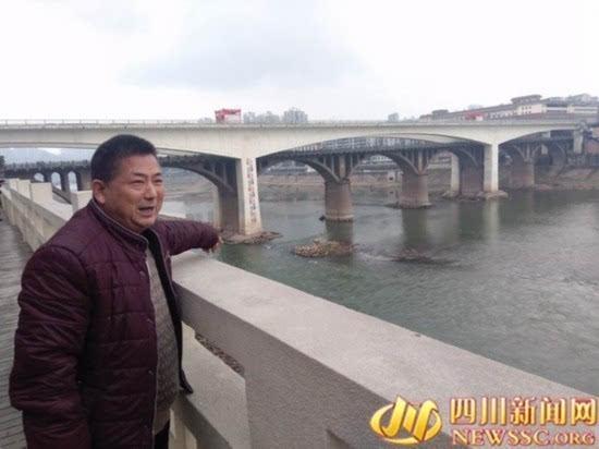 四川:小伙跳40米高大桥桥轻生被57岁大叔救起