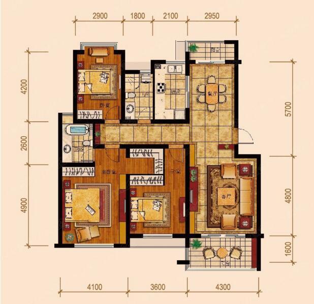 一般南北通透的户型会有这样三个特点: 特点一:客厅餐厅南北打通。真正南北通透的户型要求客厅直通南向阳台,客厅直通餐厅,餐厅直面北向阳台,通风不受墙面遮挡。 特点二:房间分居南北。所谓的房间分居南北,包括主卧、次卧、卫生间、厨房等,大户型还包括书房、儿童房,门对门通风顺畅。 特点三:进深短不影响采光。室内普遍呈短进深、大面宽的格局,这样整体的采光面会比较好,也就是说室内会比较敞亮。 具体来说,各空间朝向皆有讲究 1.