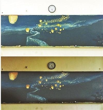长城水粉画图片简单