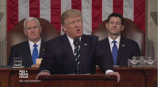 特朗普首次在美国会演讲:美国强大、骄傲、自由