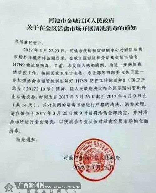 河池金城江区市场发现H7N9病毒 将暂停活禽交易