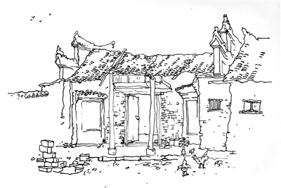村庄建筑 手绘 矢量图