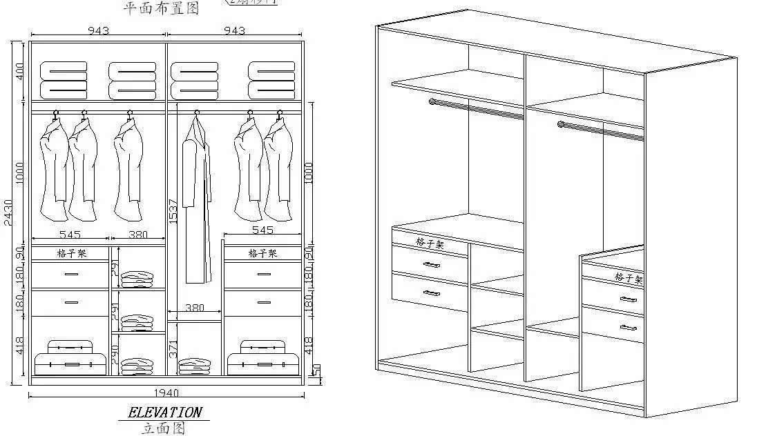 4、衣柜的功能分类设计 除了以上要注意的外,还要根据衣柜的功能分类设计,比如第一点我们提到的,放被褥的,因为一年不常用,所以就安排在顶部柜,而叠放区等安排在中间,因为经常放一些当季的衣服,不用弯腰及驼背拿,方便站着顺手拿即可;然后悬挂区要设计挂大衣的、中长椅、裙子、裤子等,抽屉要设计为放内衣裤的,放袜子的等;