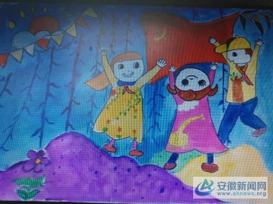 《中国梦,我的梦》,四树小学唐雨洁同学的《红心向党》及中心幼儿园颜