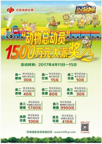 湖南福彩快乐十分之动物总动员促销派奖1500万
