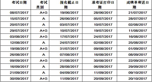 2017年7-9月雅思生活技能类考试开放报名的通知
