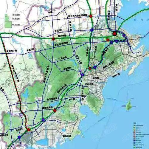 高速公路规划图  【公路】  十三五期间,西海岸新区拟建设14个国省道