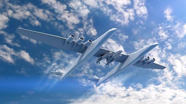 全球最大双机身飞机 可万米高空发火箭