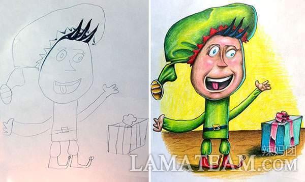 孩子的铅笔画上色