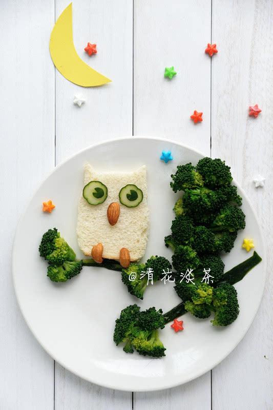 生动的动物造型早餐:夜晚的猫头鹰