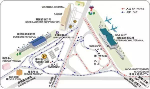 还开通有与中国北京,上海,青岛,沈阳间以及与日本东京,福冈,大阪等