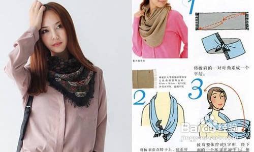 长围巾的系法图解五 韩式双层侧领结