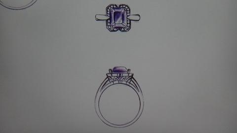 手绘戒指设计图唯美展示