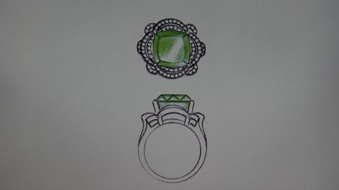 翡翠戒指手绘设计图稿分享展示