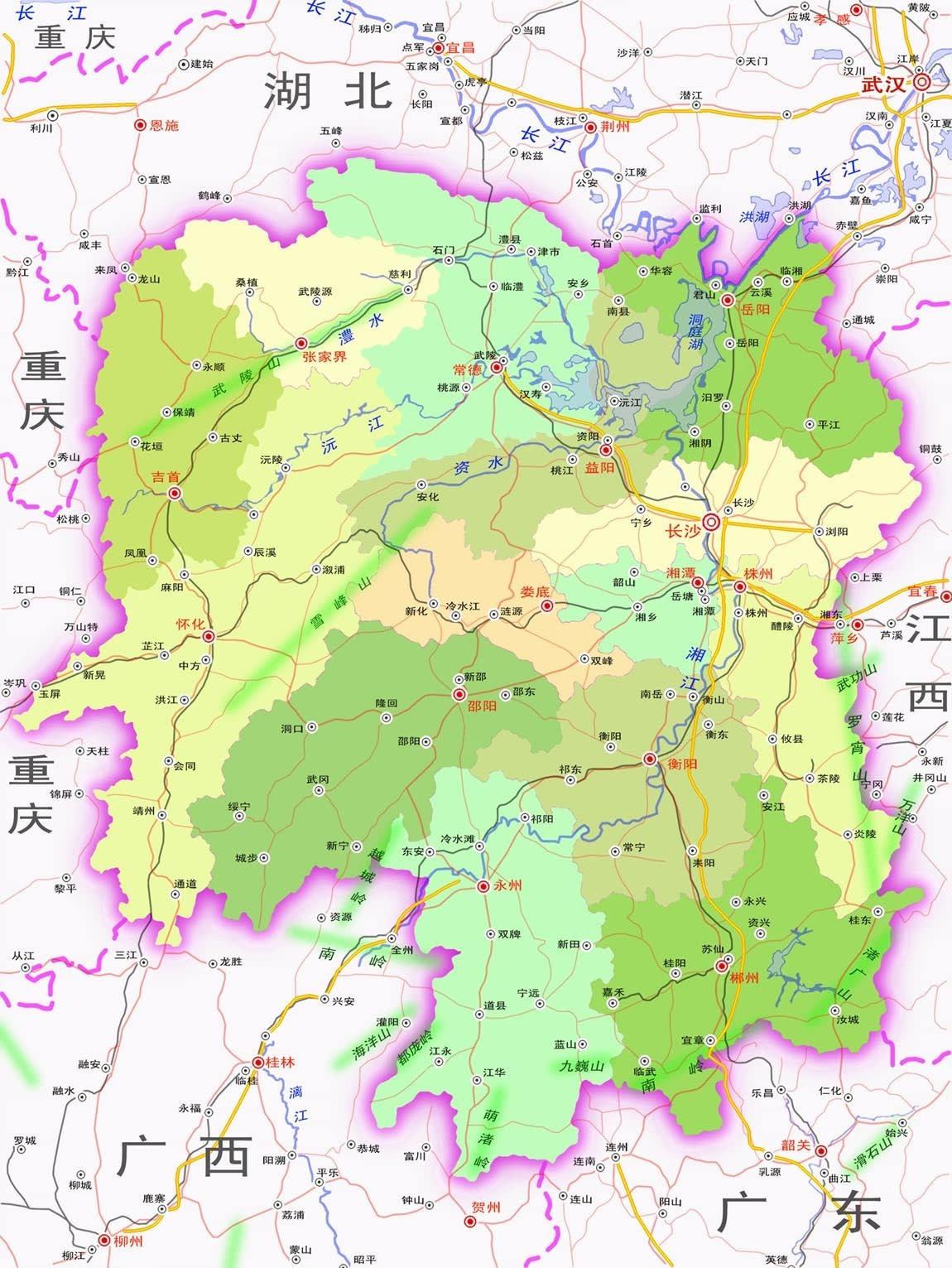 图为湖南行政区划及邻省图
