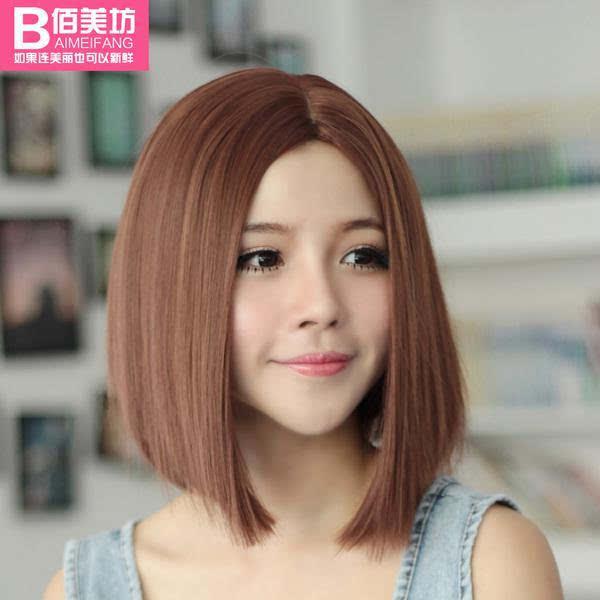 bobo头时尚女中分刘海气质短直发图片