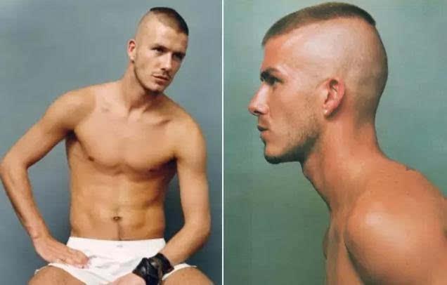 从贝克汉姆的发型v发型看男士发型发展史抹胸头黑色丸子破洞牛仔裤图片