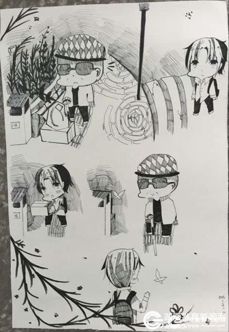 """永州:""""00后""""小女生手绘漫画弘扬雷锋精神 师生点赞"""
