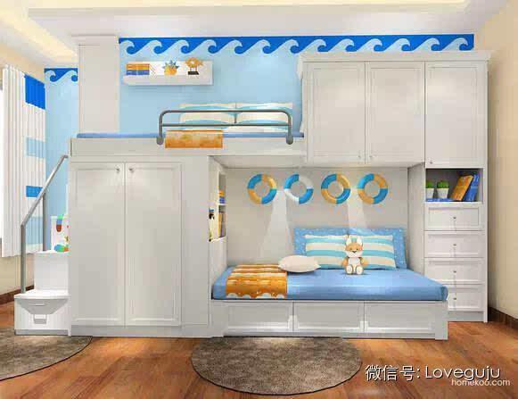 超级省空间的卧室上下床设计!图片