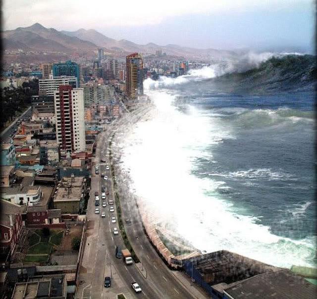 被描述为泰国普吉岛,或印尼某处在海啸袭来瞬间的照片.
