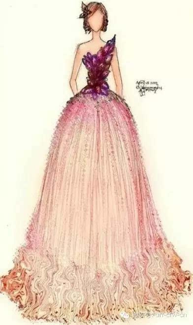 为范冰冰画的礼服手绘,惊艳漂亮