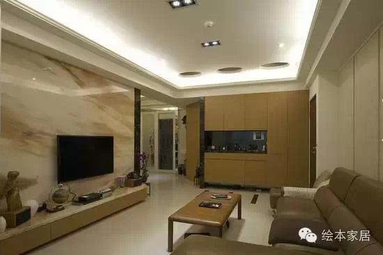 瓷砖砌起来的电视背景墙简直就是高大上!