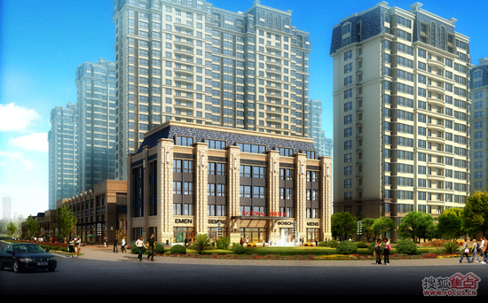 由13栋11-20层高层,小高层住宅组成,采用欧式学院派风格,连廊,合院等图片
