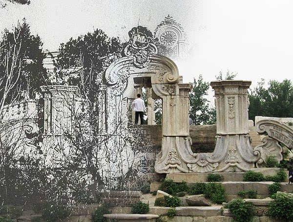【圆明园·大水法】旧宫贤相筑,新苑圣君来.运改城隍变,年深栋宇摧.