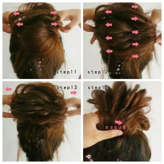 把后面的头发按图片箭头的方向拉成花的形状,让头发看起来更加的蓬松.图片