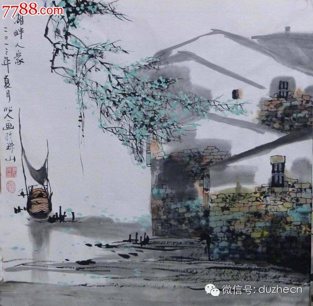 中国江南水乡水墨画图片图片