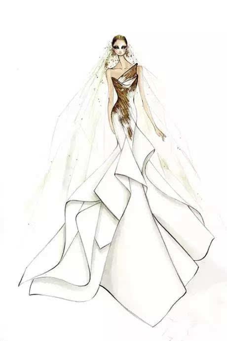 时装婚纱简笔画步骤