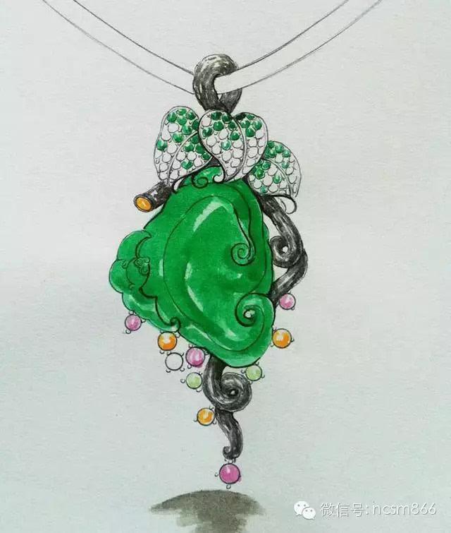翡翠镶嵌设计图 手绘展示