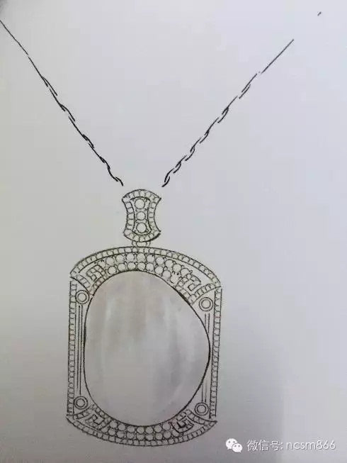 首饰翡翠镶嵌佛公设计图手稿素描展示
