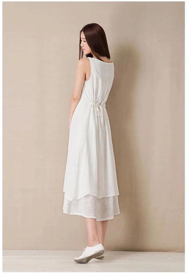 文艺复古棉麻背心裙,后背收腰双层裙子,具有小新鲜文艺范的个性,喜爱