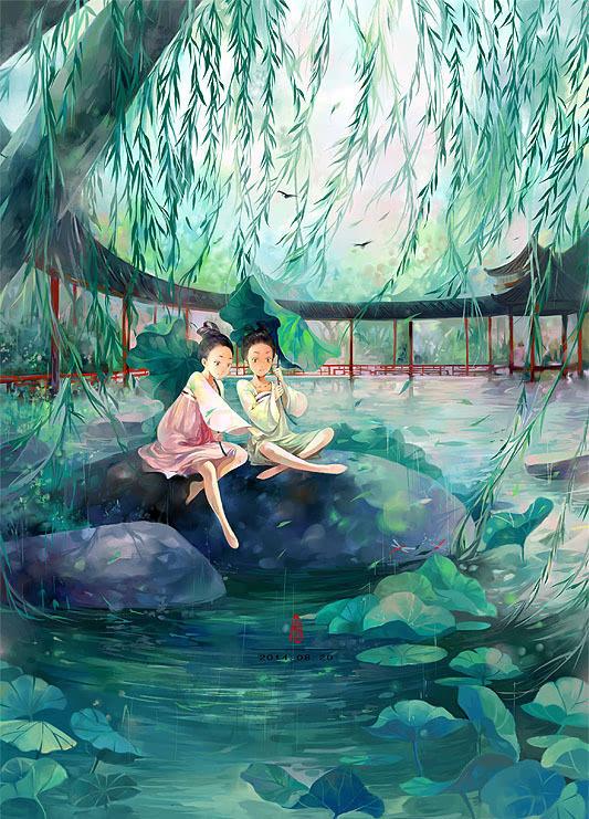 手绘古风杨柳图片