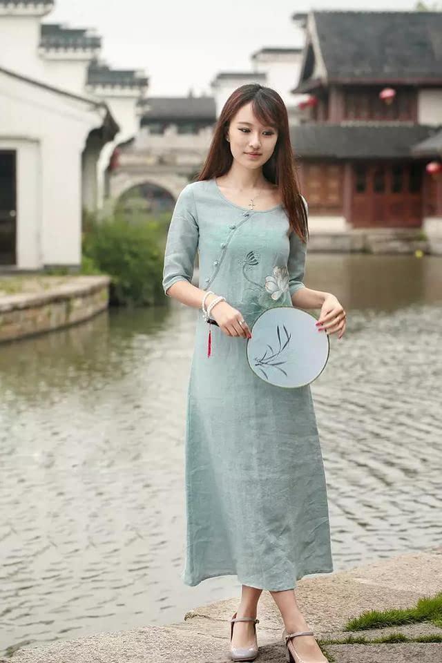 复古中国风,手绘连衣裙