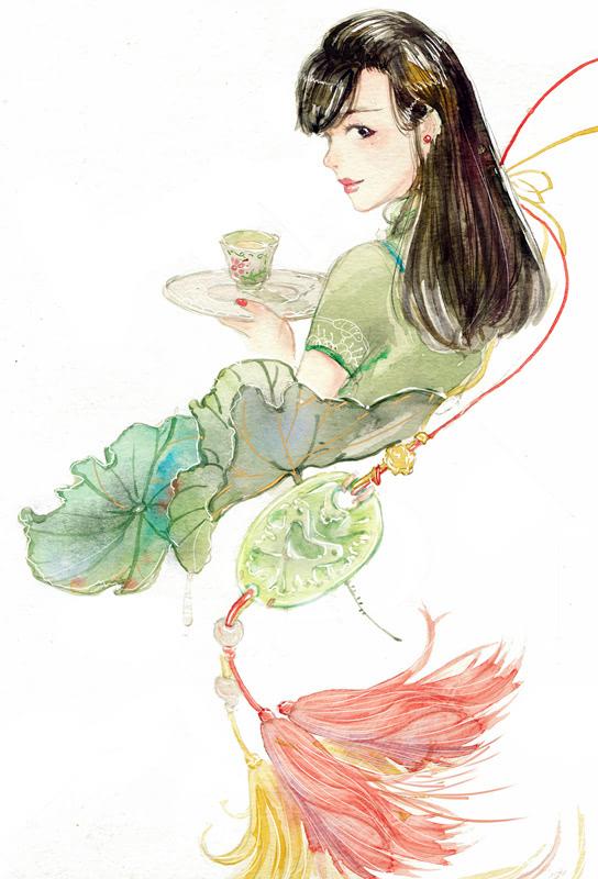 花瓣人物插画手绘