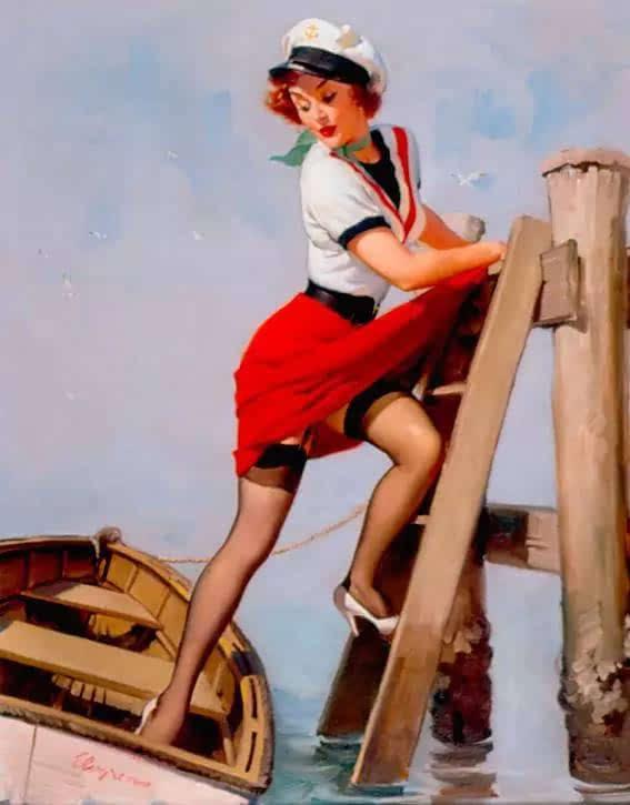 美国的20年代20形式,那工笔非常手绘一种流行美女的国画宣传画和美女海报时候世纪图片