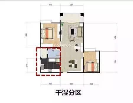 而静区主要供业主休息,相对比较安静,应该设计在房子的内部,减少相互