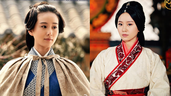 """发型,无论是嫁人前的大背头搭两""""坨""""垂发,还是汉朝经典的中分都很平常图片"""