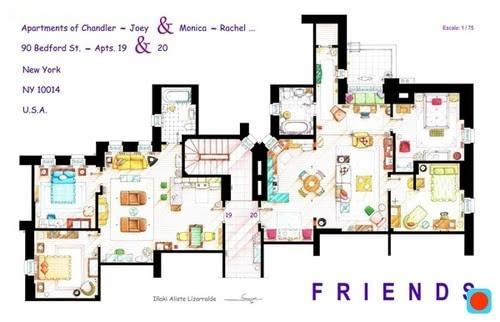 1张彩绘平面图 揭秘《老友记》公寓的各个角落