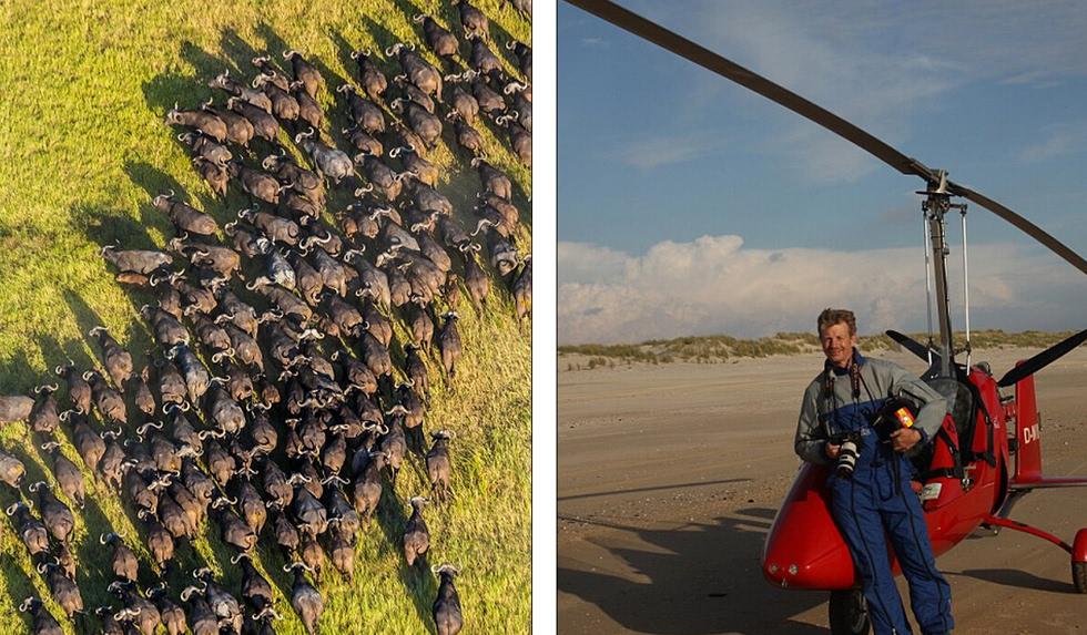 英摄影师高空俯拍非洲野生动物