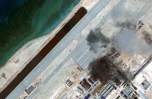 图为永暑岛机场跑道细节